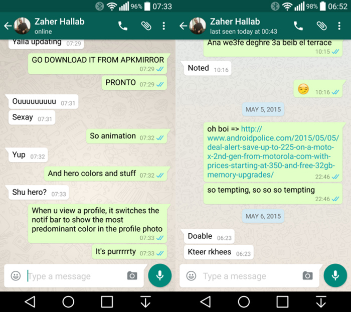 Nova beta de WhatsApp com Material Design 2