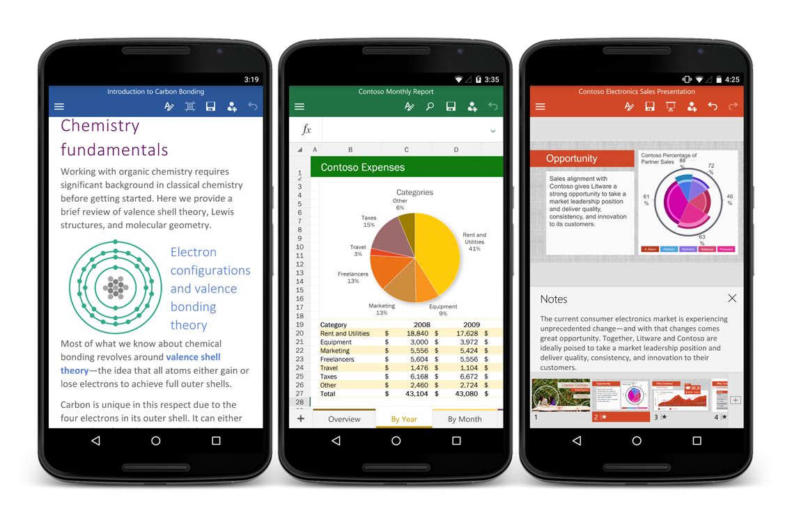 Word, Excel and Powerpoint for Android now available