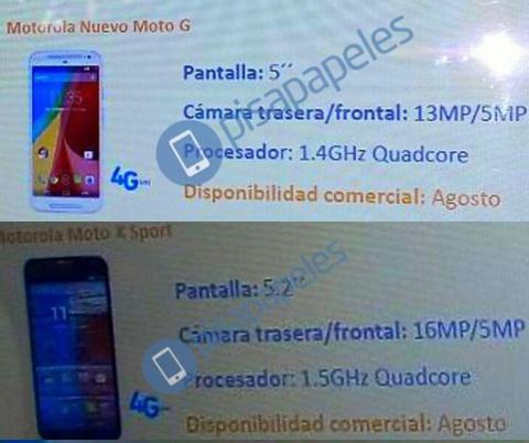 Motorola Moto G 2015 y Moto X Sport aparecen con posible fecha de lanzamiento para agosto 1