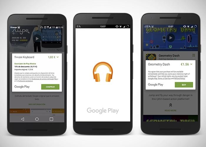 Google oferece um desconto do 10% em toda a Play Store se você usar o Google Play Music 1
