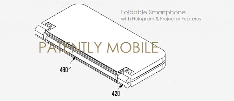 Patente de Samsung muestra un smartphone plegable con proyector 1