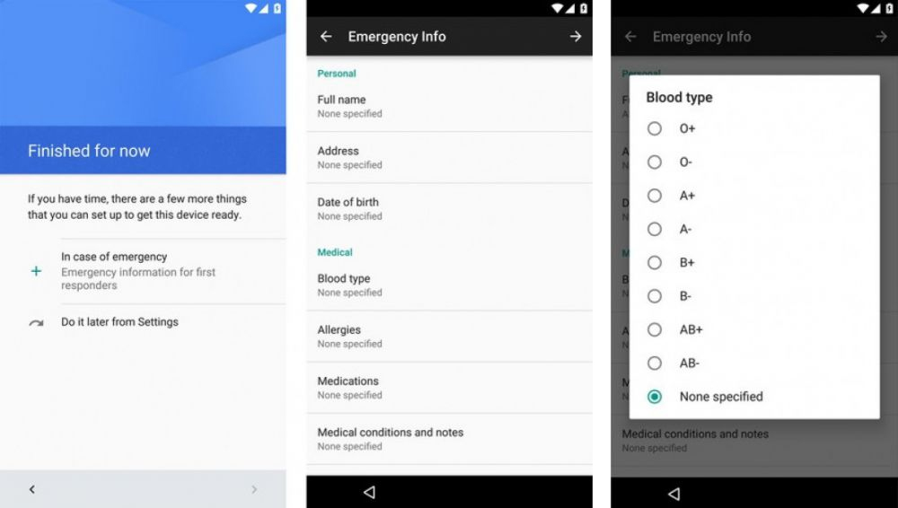 Android N will implement a new Emergency Info screen 1