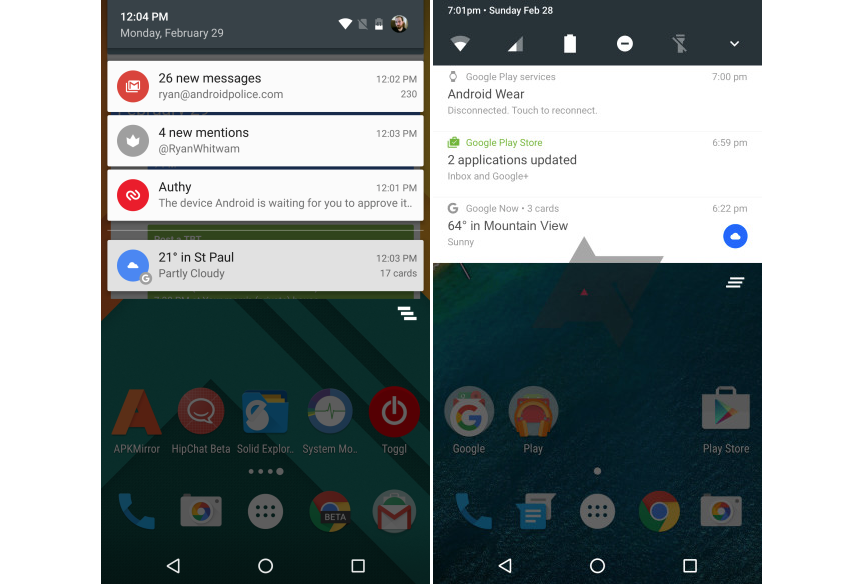Android N is shown for the first time in a screenshot 1