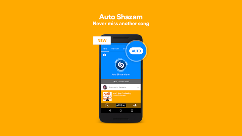 Shazam with Auto always listening on Android and iOS 1