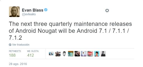 Android 7.1 Nougat es confirmado como version de mantenimiento 1