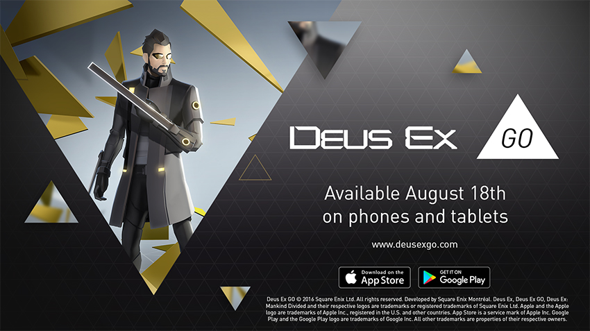 Deus Ex GO will debut on August 18 on iOS and Android 1