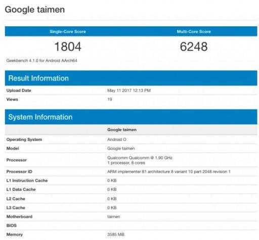 Google Taimen con 4 GB de RAM y Android O en Geekbench 1